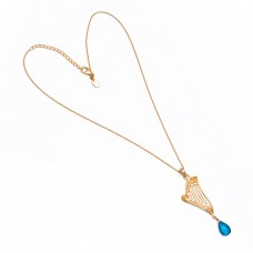 Pear Shape Blue Quartz Gemstone 925 Sterling Silver Gold Plated Necklace Jewelry