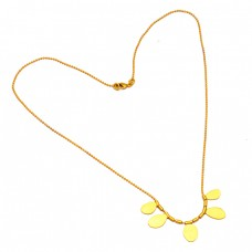 925 Sterling Silver Gold Plated Stylish Designer Plain Necklace Jewelry