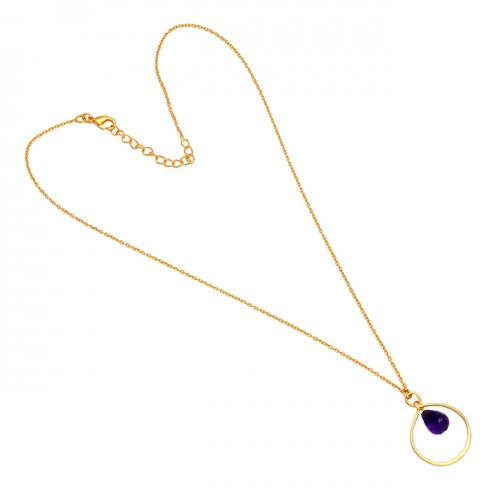 Pear Drops Shape Amethyst Gemstone 925 Sterling Silver Gold Plated Necklace Jewelry