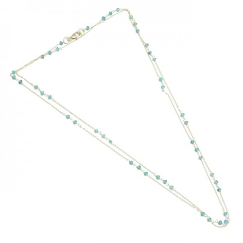 Faceted Roundel Beads Aqua Color Chalcedony Gemstone 925 Sterling Silver Necklace