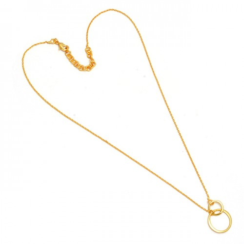 925 Sterling Silver Designer Plain Handmade Gold Plated Necklace Jewelry