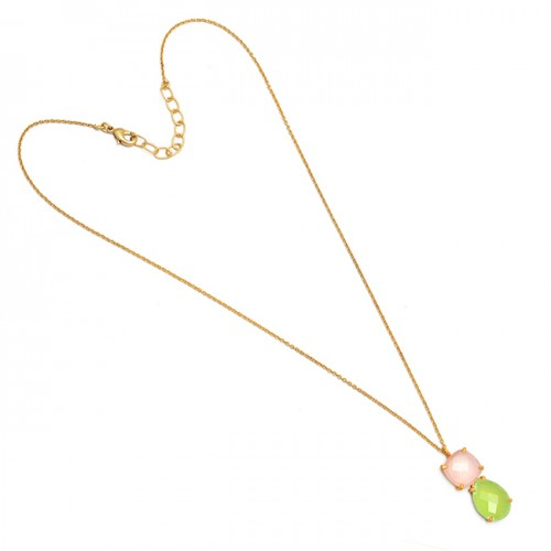 Cushion Pear Shape Chalcedony Gemstone 925 Sterling Silver Gold Plated Necklace