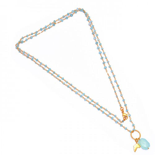 Hexagon Roundel Beads Shape Chalcedony Gemstone 925 Silver Gold Plated Necklace