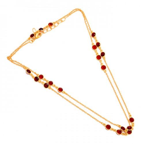 Bezel Setting Garnet Round Shape Gemstone 925 Sterling Silver Gold Plated Layered Necklace