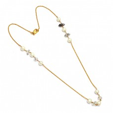 925 Sterling Silver Pearl Herkimer Diamond Rough Gemstone Gold Plated Necklace