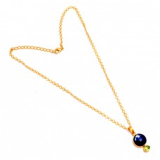 Lapis Lazuli Peridot Gemstone 925 Sterling Silver Gold Plated Chain Necklace Jewelry