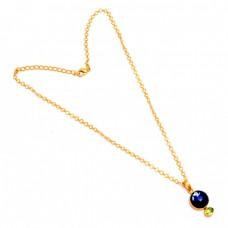 Lapis Lazuli Peridot Gemstone 925 Sterling Silver Gold Plated Chain Necklace Jewelry
