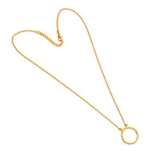 925 Sterling Silver Attractive Handmade Plain Designer Gold Plated Necklace Jewelry