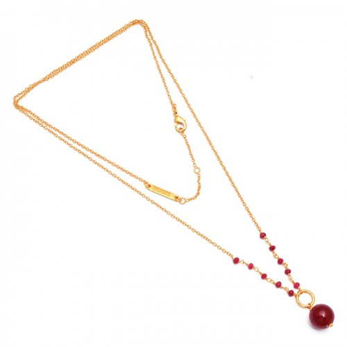 Round Balls Roundel Beads Shape Ruby Gemstone 925 Sterling Silver Gold Plated Necklace