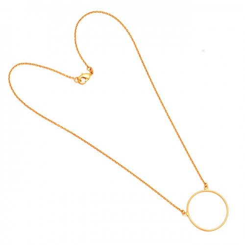 Stylish Designer Plain Handmade 925 Sterling Silver Gold Plated Necklace Jewelry