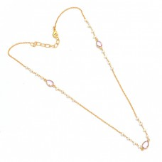 Pink Quartz Pearl Gemstone 925 Sterling Silver Gold Plated Necklace Jewelry