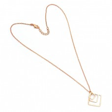 Attractive Handcrafted Designer Plain 925 Sterling Silver Gold Plated Necklace Jewelry
