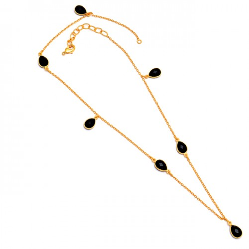 Black Onyx Pear Shape Gemstone 925 Sterling Silver Gold Plated Necklace Jewelry