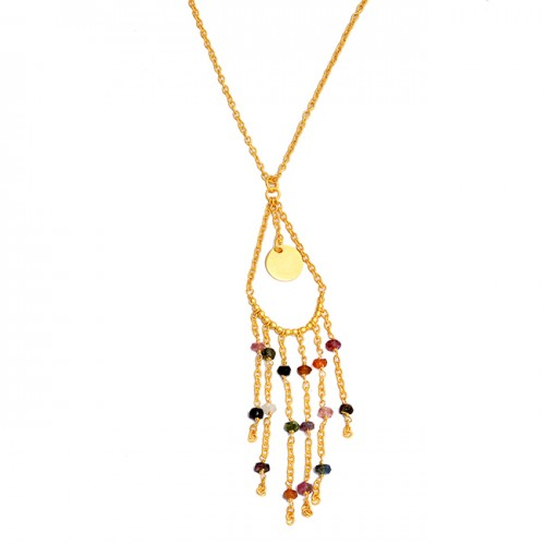 Faceted Roundel Beads Shape Multi Tourmaline Gemstone 925 Silver Gold Plated Necklace
