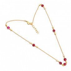 Bezel Setting Round Shape Garnet Gemstone 925 Sterling Silver Gold Plated Necklace