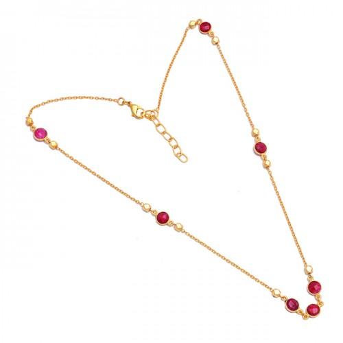 Bezel Setting Round Shape Garnet Gemstone 925 Sterling Silver Gold Plated Necklace