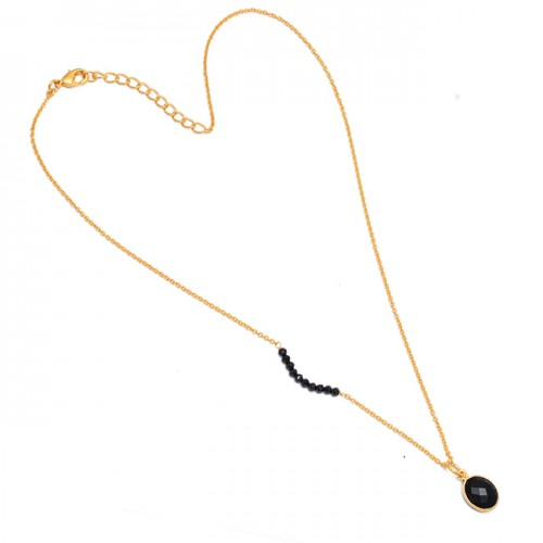 Black Onyx Oval Roundel Beads Gemstone 925 Sterling Silver Gold Plated Necklace