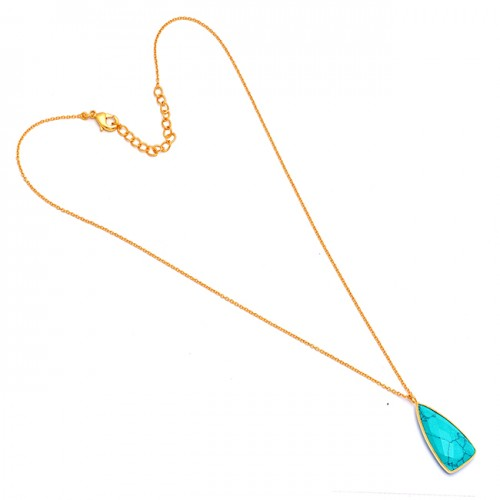 Turquoise Triangle Shape Gemstone 925 Sterling Silver Gold Plated Necklace Jewelry