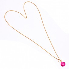 925 Sterling Silver Briolette Heart Shape Ruby Gemstone Gold Plated Necklace Jewelry