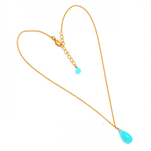 Pear Drops Shape Chalcedony Gemstone 925 Sterling Silver Gold Plated Necklace Jewelry