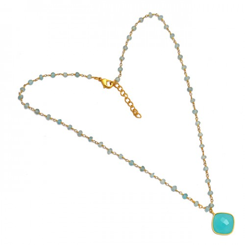 Cushion Roundel Beads Shape Aqua Chalcedony Gemstone 925 Sterling Silver Gold Plated Necklace Jewelry