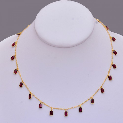 Rectangle Shape Red Garnet Gemstone 925 Sterling Silver Gold Plated Necklace