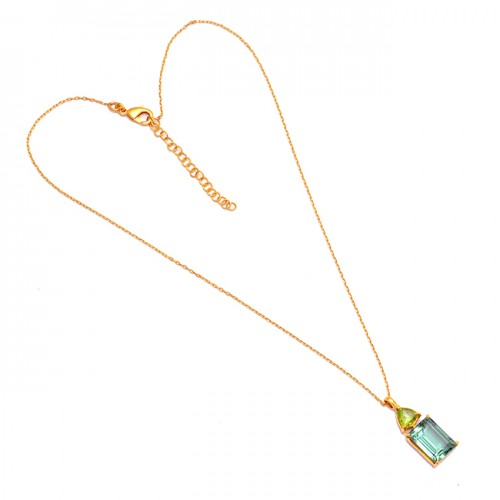 Peridot Green Amethyst Gemstone 925 Sterling Silver Gold Plated Neckalce Jewelry