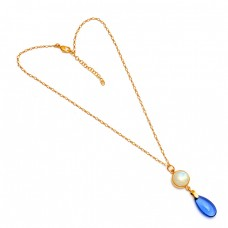 Moonstone Tanzanite Quartz Gemstone 925 Sterling Silver Gold Plated Necklace