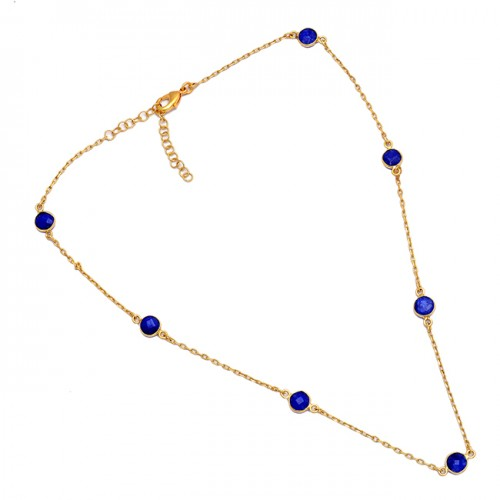 Round Shape Blue Sapphire Gemstone 925 Sterling Silver Gold Plated Necklace