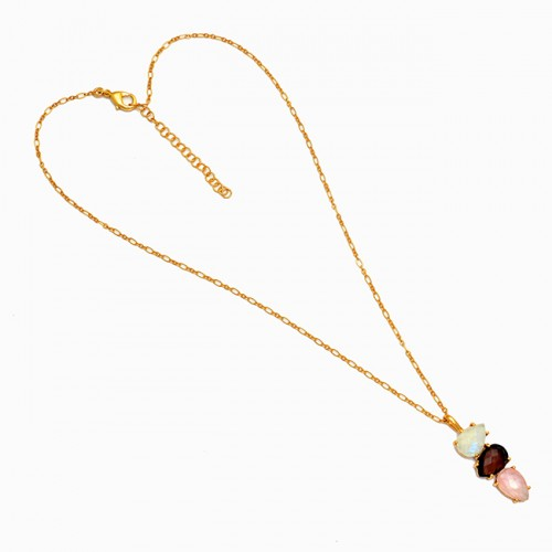 Pear Shape Moonstone Quartz Gemstone 925 Sterling Silver Gold Plated Necklace