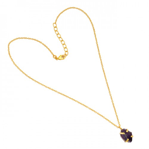 Prong Setting Handmade Raw Rough Amethyst Gemstone 925 Sterling Silver Gold Plated Necklace Jewelry
