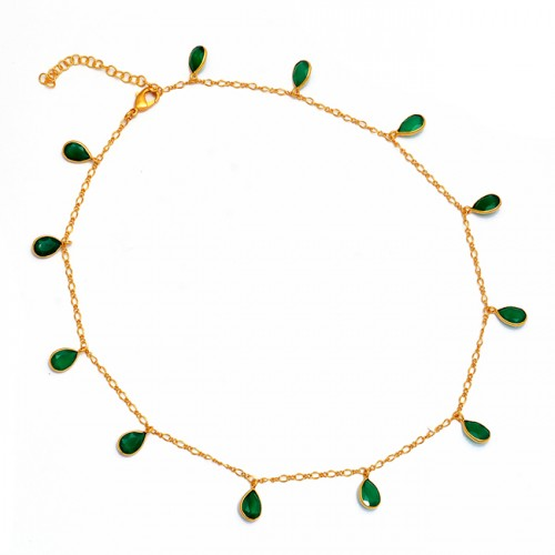 Pear Shape Green Onyx Gemstone 925 Sterling Silver Gold Plated Necklace Jewelry