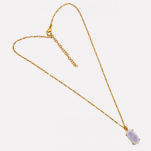 Rectangle Shape Moonstone 925 Sterling Silver Gold Plated Handmade Necklace
