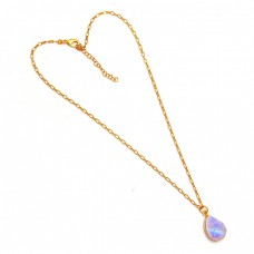 Mango Shape Moonstone 925 Sterling Silver Gold Plated Handcrafted Necklace