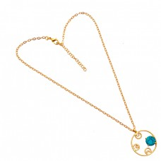 Round Shape Turquoise Gemstone 925 Sterling Silver Gold Plated Necklace Jewelry