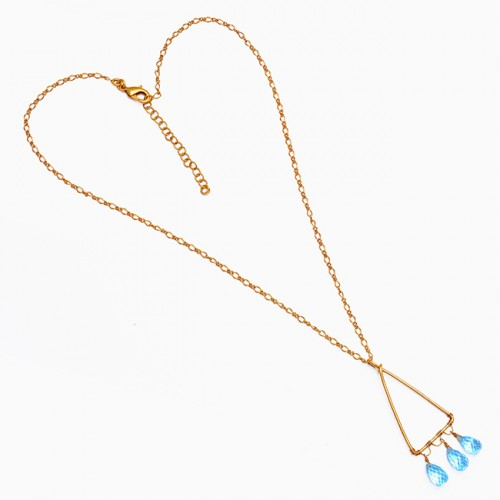 Pear Drops Shape Blue Topaz Gemstone 925 Sterling Silver Gold Plated Necklace