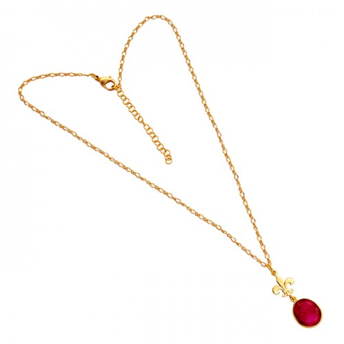 Oval Shape Ruby Gemstone 925 Sterling Silver Gold Plated Designer Necklace