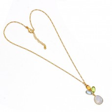 Oval Shape Multi Color Gemstone 925 Sterling Silver Gold Plated Necklace