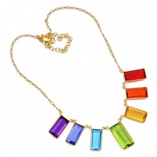 Rectangle Shape Multi Color Gemstone 925 Sterling Silver Gold Plated Necklace