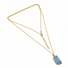 Nice Blue Fire Labradorite Gemstone 925 Sterling Silver Gold Plated Necklace Jewelry
