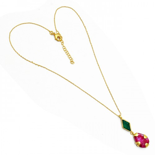 Green Onyx Ruby Gemstone 925 Sterling Silver Gold Plated Designer Necklace