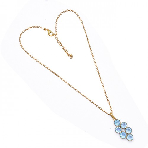 Round Shape Blue Topaz Gemstone 925 Sterling Silver Gold Plated Necklace Jewelry