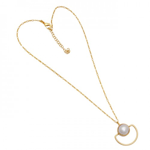 Round Shape Pearl Gemstone 925 Sterling Silver Gold Plated Designer Necklace