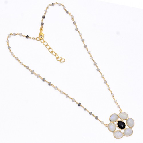 Moonstone Onyx Quartz Gemstone 925 Sterling Silver Gold Plated Beaded Necklace