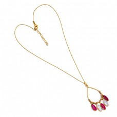 Oval Shape Moonstone Ruby Gemstone 925 Sterling Silver Gold Plated Necklace