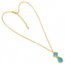 Pear Square Shape Chalcedony Gemstone 925 Sterling Silver Gold Plated Necklace