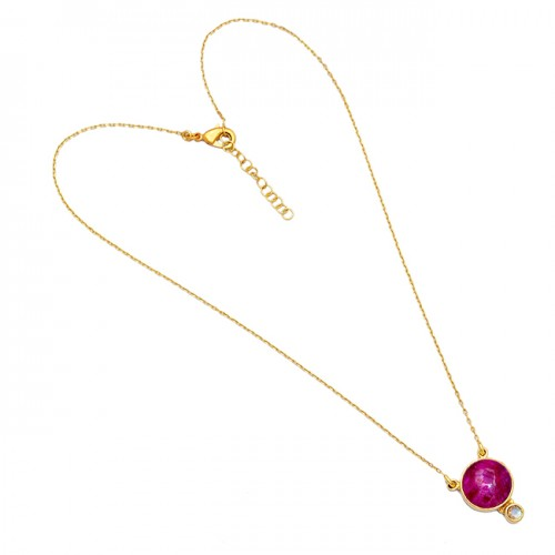 Ruby Moonstone Round Shape Gemstone 925 Sterling Silver Gold Plated Necklace