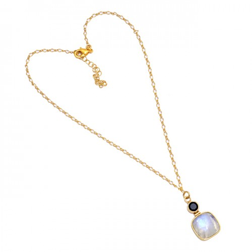 Onyx Moonstone 925 Sterling Silver Gold Plated Handmade Designer Necklace