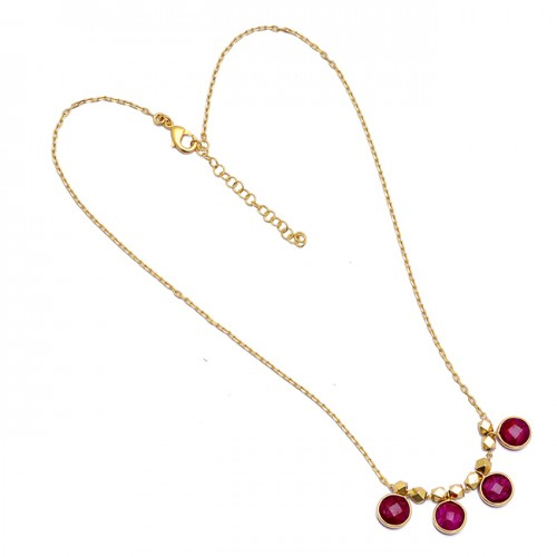 Round Shape Ruby Gemstone 925 Sterling Silver Gold Plated Handcrafted Necklace
