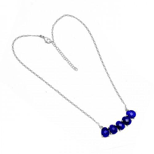 Oval Shape Lapis Lazuli Gemstone 925 Sterling Silver Gold Plated Designer Necklace